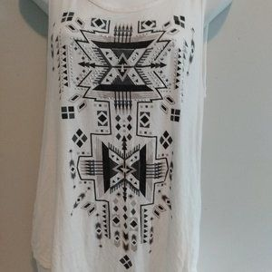 Tank top with design on front black and white.